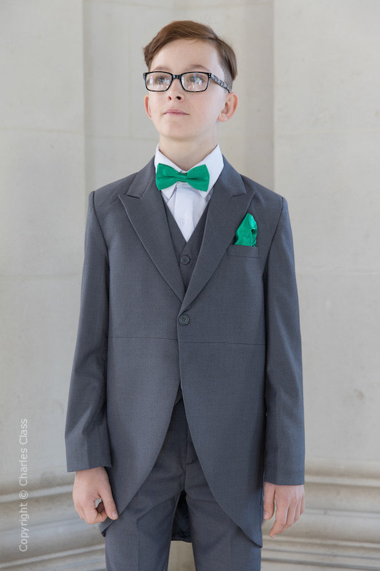 Boys Grey Tail Coat Suit with Emerald Green Dickie Bow Set - Earl