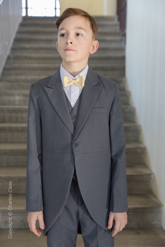 Boys Grey Tail Coat Suit with Gold Bow Tie - Earl