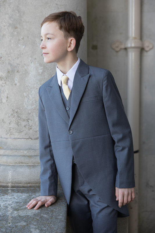 Boys Grey Tail Coat Suit with Gold Tie - Earl
