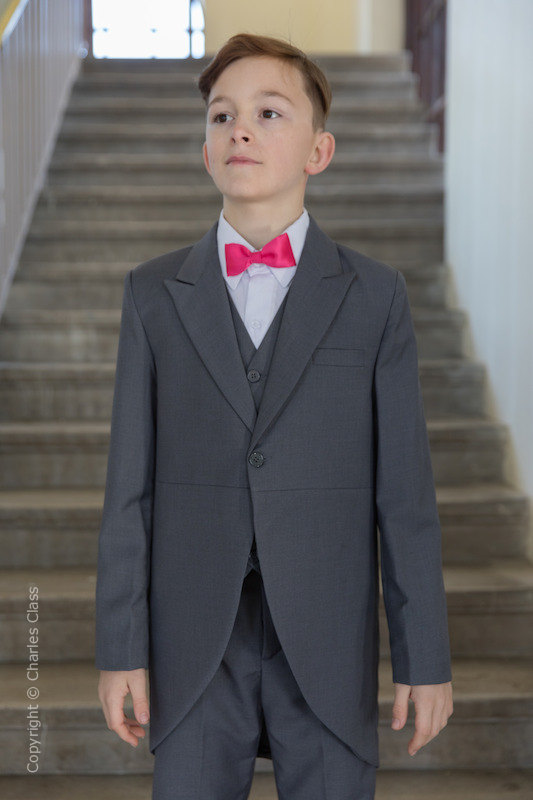 Boys Grey Tail Coat Suit with Hot Pink Bow Tie - Earl
