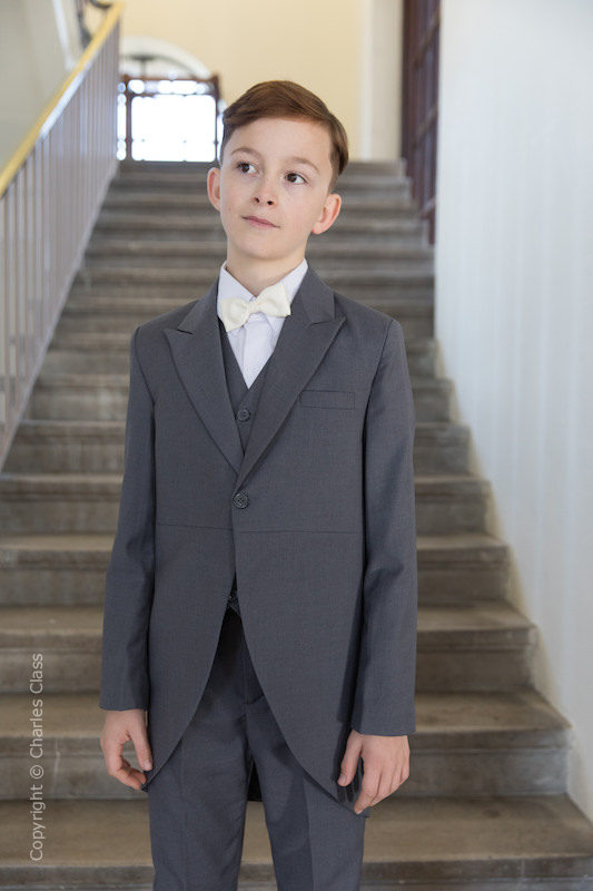 Boys Grey Tail Coat Suit with Ivory Bow Tie - Earl