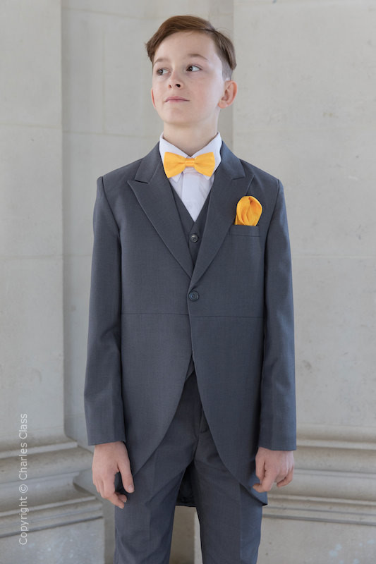 Boys Grey Tail Coat Suit with Marigold Dickie Bow Set - Earl