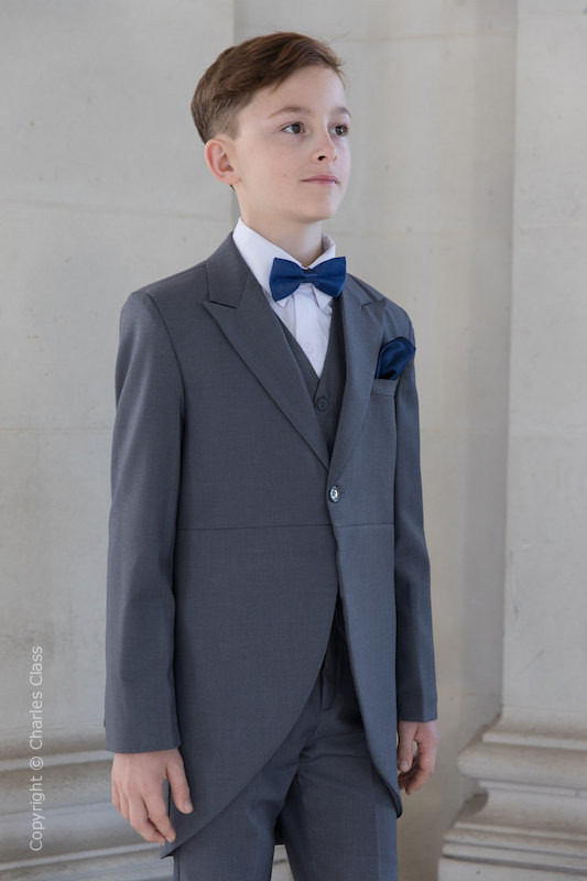 Boys Grey Tail Coat Suit with Navy Dickie Bow Set - Earl