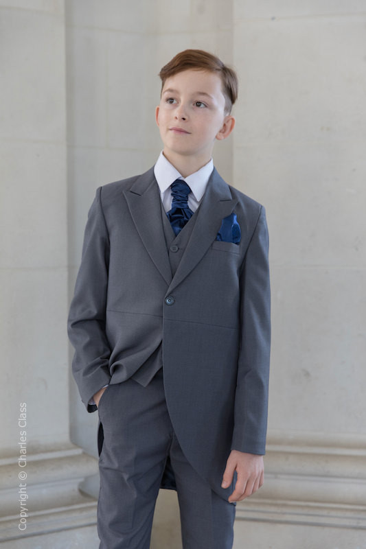 Boys Grey Tail Coat Suit with Navy Cravat Set - Earl