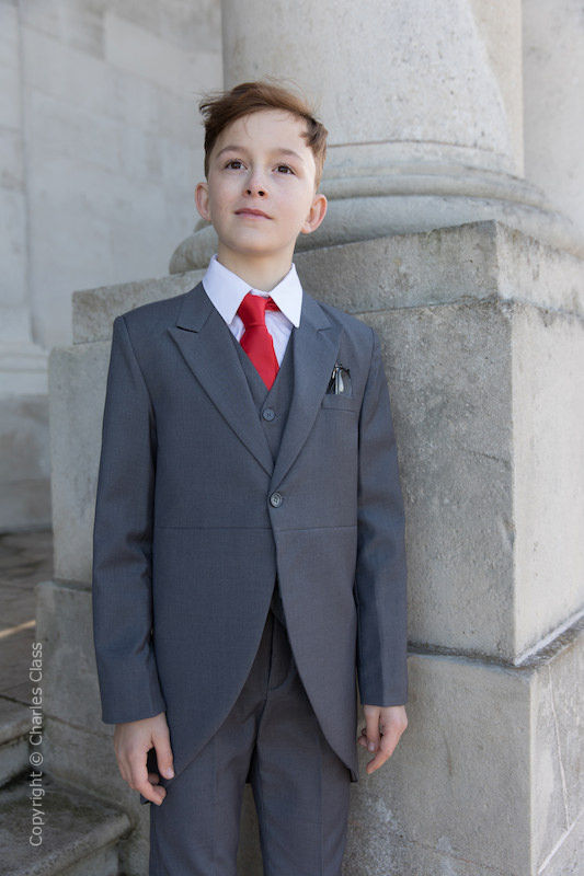 Boys Grey Tail Coat Suit with Red Tie - Earl