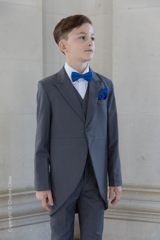 Boys Grey Tail Coat Suit with Royal Dickie Bow Set - Earl