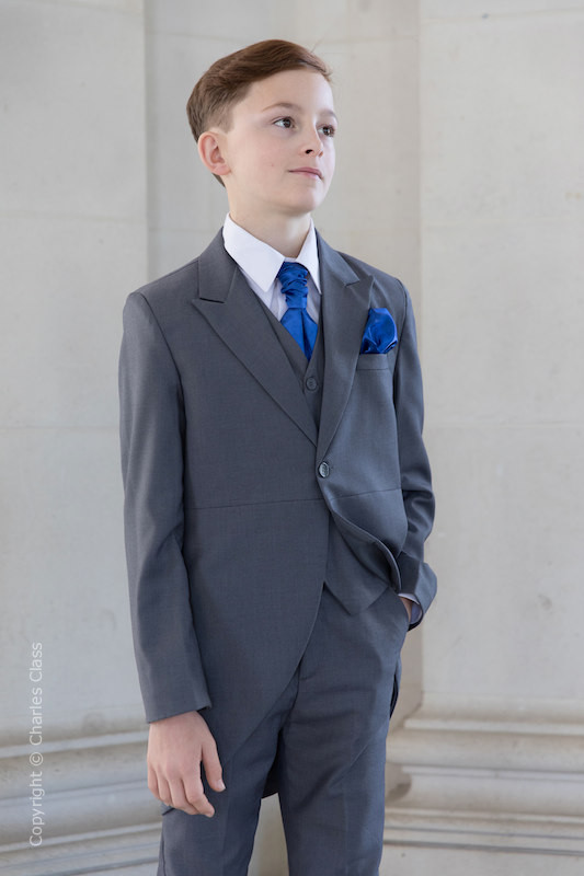 Boys Grey Tail Coat Suit with Royal Blue Cravat Set - Earl