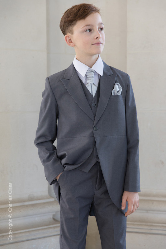 Boys Grey Tail Coat Suit with Silver Cravat Set - Earl