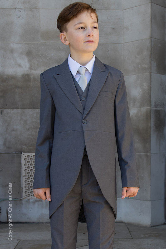 Boys Grey Tail Coat Suit with Silver Tie - Earl