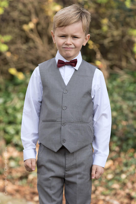 Boys Light Grey Trouser Suit with Burgundy Dickie Bow - Thomas