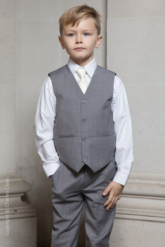 Boys Light Grey Trouser Suit with Ivory Tie - Thomas