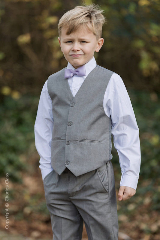 Boys Light Grey Trouser Suit with Lilac Dickie Bow - Thomas