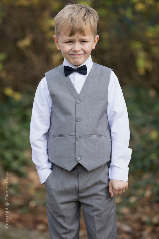 Boys Light Grey Trouser Suit with Navy Dickie Bow - Thomas