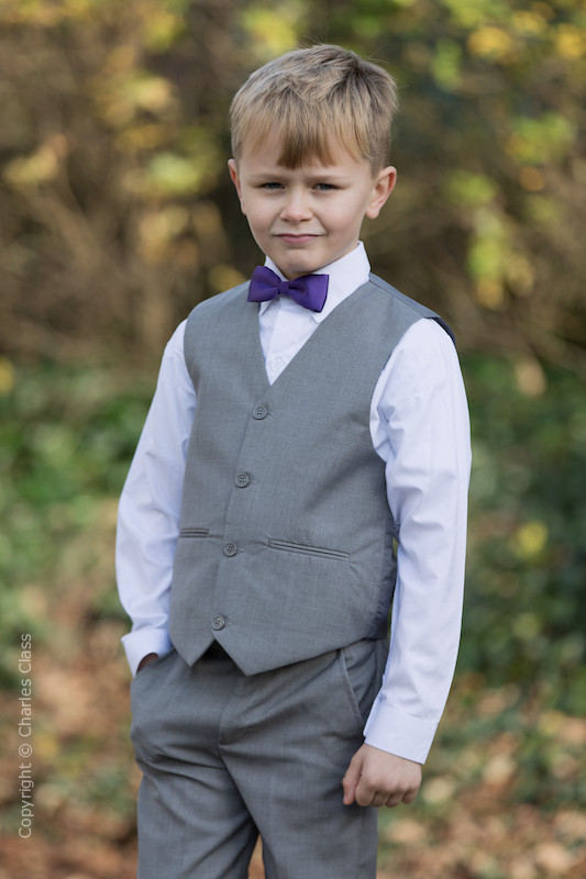 Boys Light Grey Trouser Suit with Purple Dickie Bow - Thomas