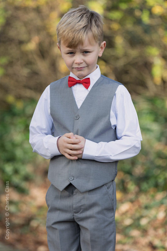 Boys Light Grey Trouser Suit with Red Dickie Bow - Thomas
