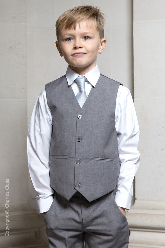 Boys Light Grey Trouser Suit with Silver Tie - Thomas