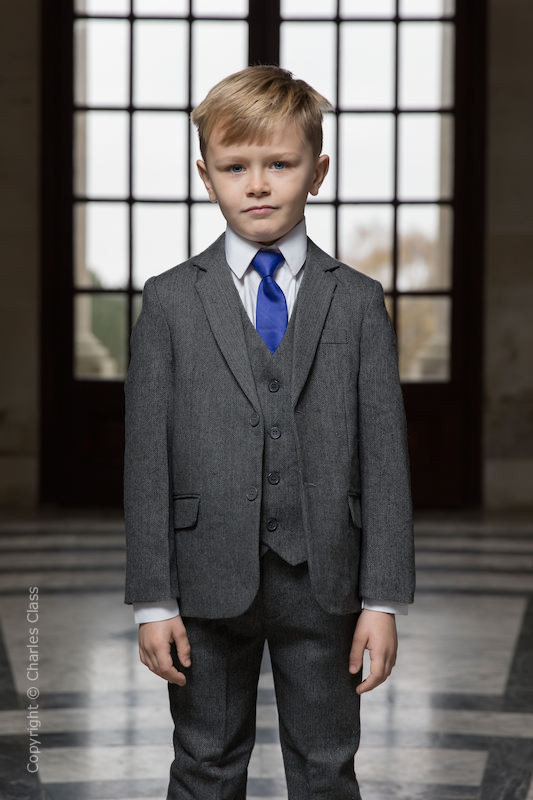 Boys Grey Herringbone Tweed Jacket Suit - Rupert