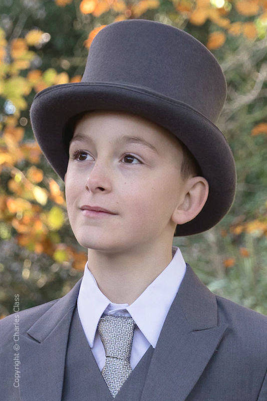 Boys Grey Formal 100% Wool Top Hat