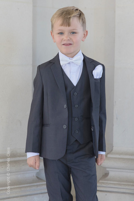 Boys Grey Jacket Suit with White Bow & Hankie - Oscar