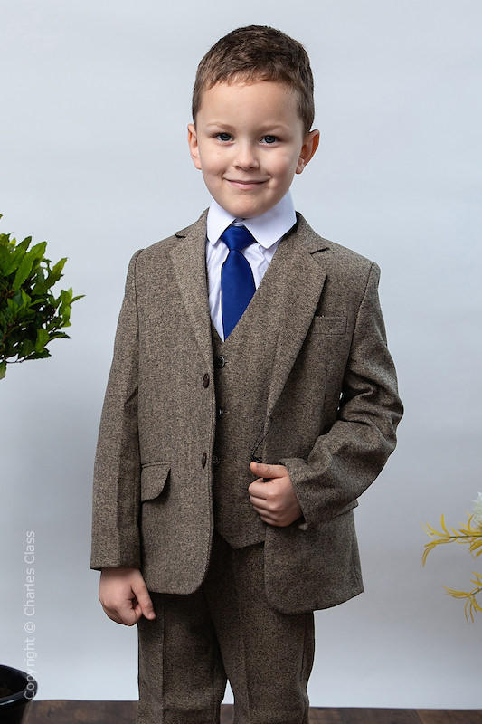 Boys Brown Soft Herringbone Tweed Jacket Suit - Benjamin
