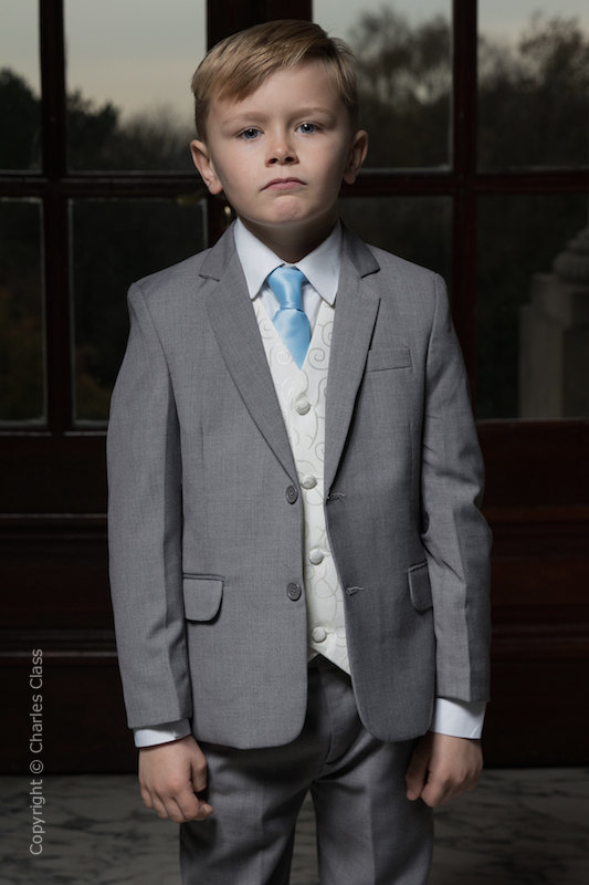 Boys Light Grey & Ivory Suit with Sky Blue Tie - Tobias