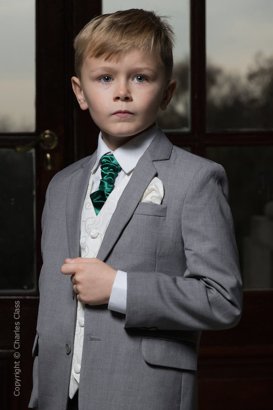 Boys Light Grey & Ivory Suit with Bottle Green Cravat - Tobias