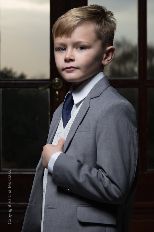 Boys Light Grey & Ivory Suit with Navy Tie - Tobias