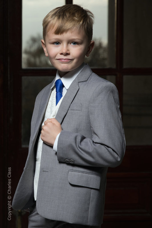 Boys Light Grey & Ivory Suit with Royal Blue Tie - Tobias