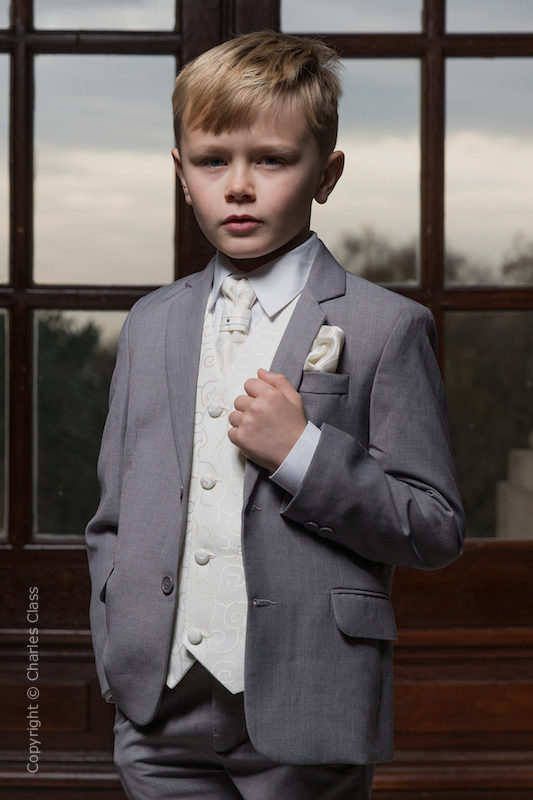 Boys Light Grey & Ivory Scroll Jacket Suit - Tobias