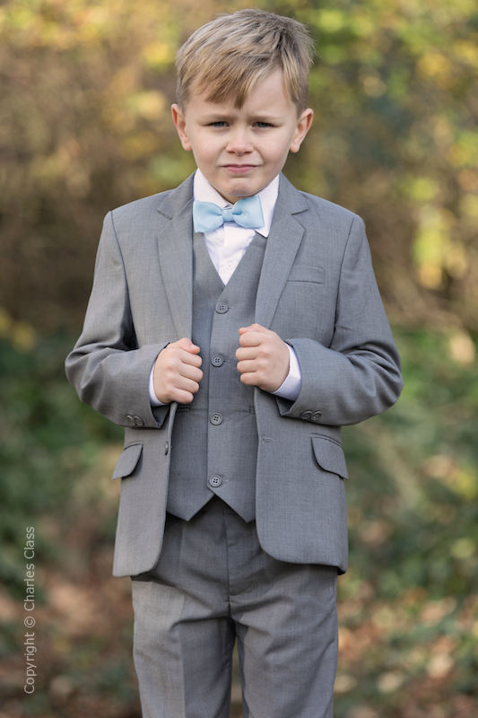 Boys Light Grey Jacket Suit with Sky Blue Dickie Bow - Perry