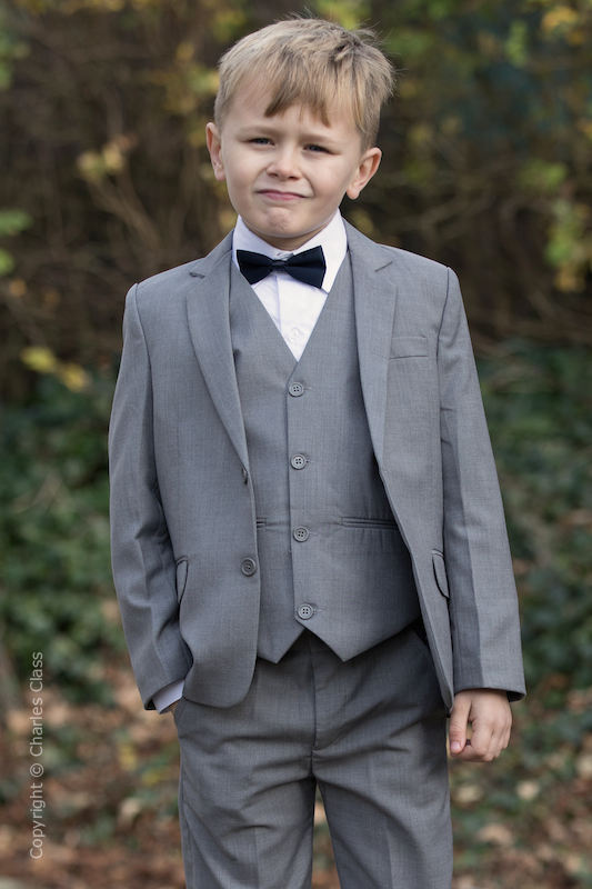Boys Light Grey Jacket Suit with Navy Dickie Bow - Perry