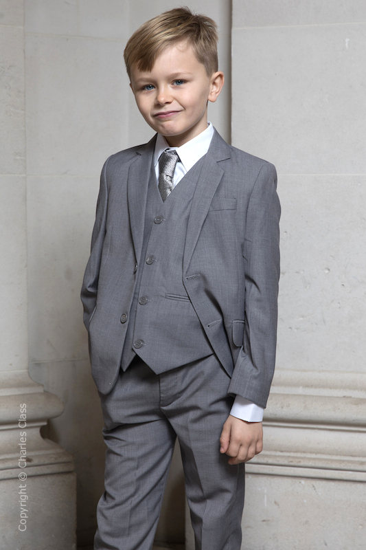 Boys Light Grey Jacket Suit - Perry