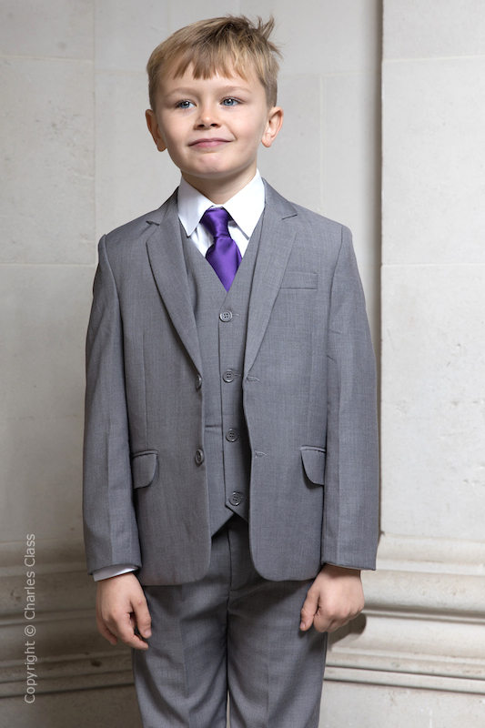Boys Light Grey Jacket Suit with Purple Tie - Perry