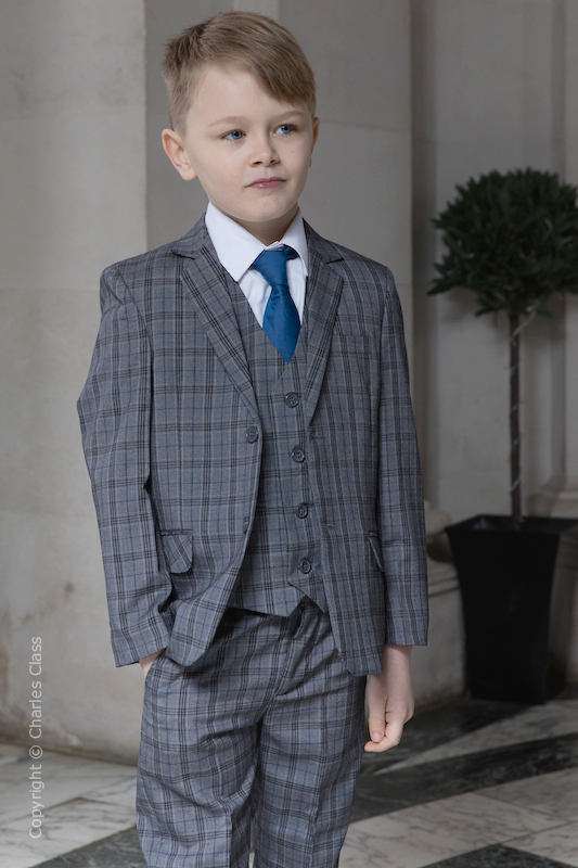 Boys Mid Grey Check Jacket Suit - Crispin