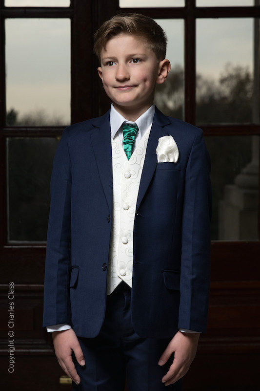 Boys Navy & Ivory Suit with Bottle Green Cravat - Jaspar