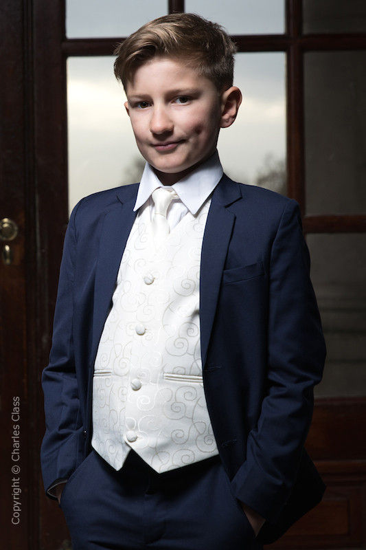 Boys Navy & Ivory Suit with Ivory Satin Tie - Jaspar