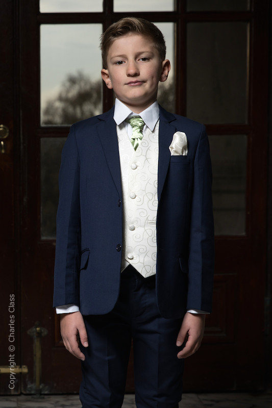 Boys Navy & Ivory Suit with Mustard Green Cravat - Jaspar