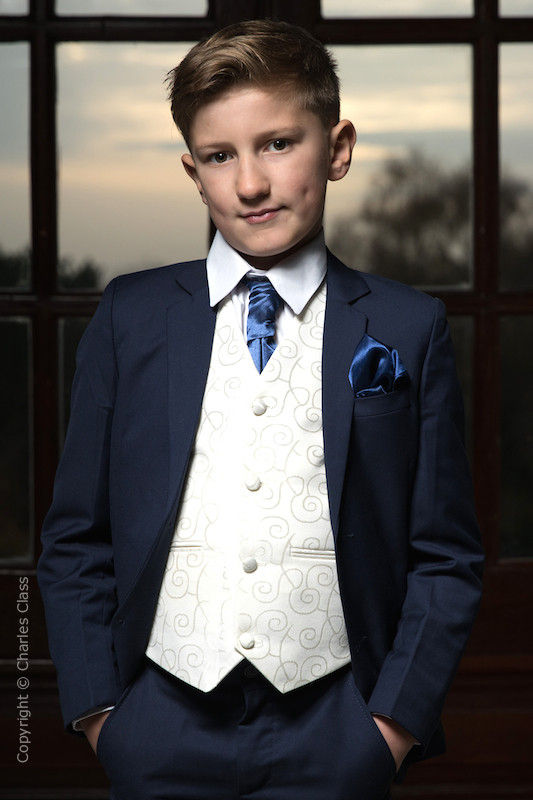 Boys Navy & Ivory Suit with Navy Cravat Set - Jaspar