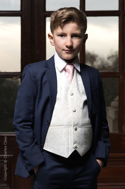 Boys Navy & Ivory Suit with Pale Pink Tie - Jaspar