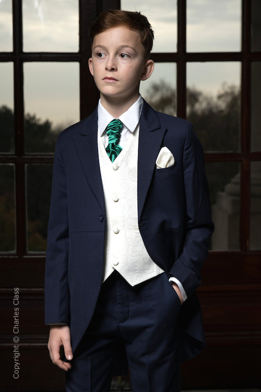 Boys Navy & Ivory Tail Suit with Bottle Green Cravat - Darcy