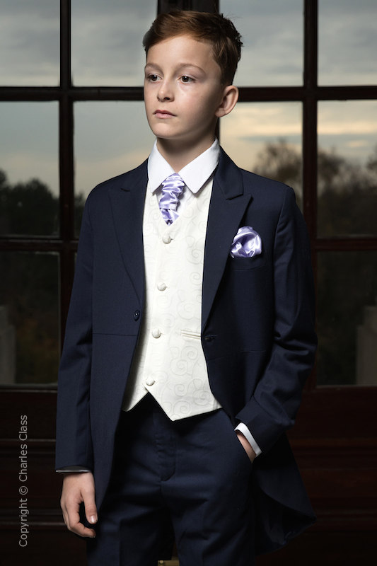 Boys Navy & Ivory Tail Suit with Lilac Cravat Set - Darcy