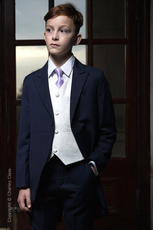 Boys Navy & Ivory Tail Suit with Lilac Tie - Darcy