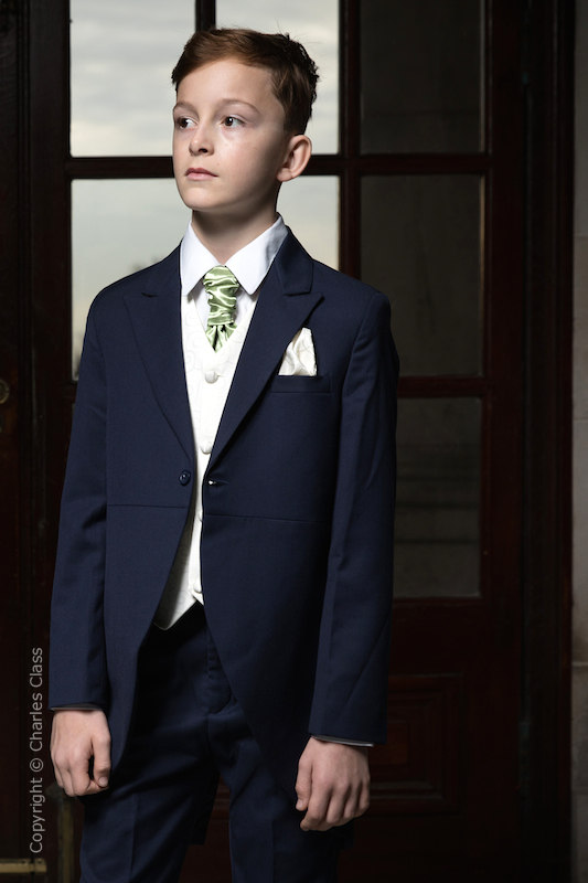 Boys Navy & Ivory Tail Suit with Mustard Green Cravat - Darcy