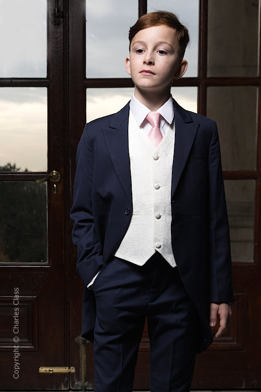 Boys Navy & Ivory Tail Suit with Pale Pink Tie - Darcy