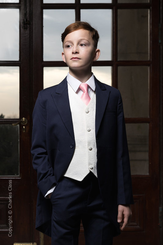 Boys Navy & Ivory Tail Suit with Baby Pink Tie - Darcy