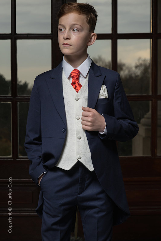 Boys Navy & Ivory Tail Suit with Poppy Red Cravat - Darcy