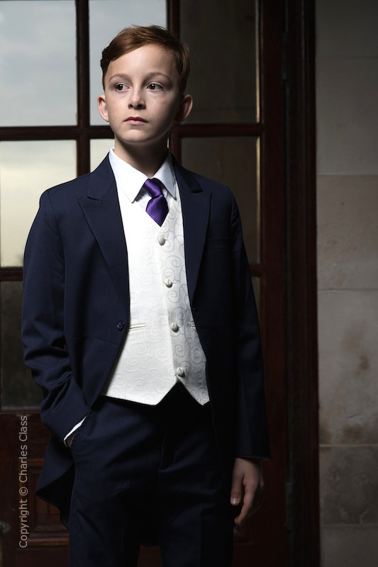 Boys Navy & Ivory Tail Suit with Purple Tie - Darcy