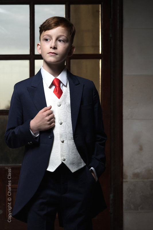 Boys Navy & Ivory Tail Suit with Red Tie - Darcy