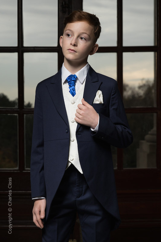 Boys Navy & Ivory Tail Suit with Royal Blue Cravat - Darcy