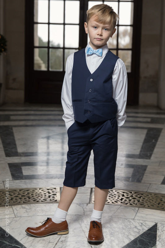 Boys Navy Shorts Suit with Sky Blue Dickie Bow - Leo